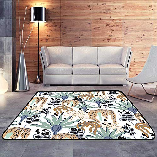 Dense Floral Pattern - Modern Area Rug with Non-Skid,Seamless Vector Pattern with Floral Dense Garden.W 78.7