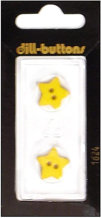 DILL BUTTONS OF AMERICA 1624 DILL BUTTONS 15MM 2PC 2 HOLE STAR YELLOW