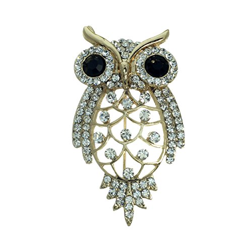 Owl Vintage Pins - Rosemarie Collections Women's Vintage Design Crystal Owl Brooch Pin