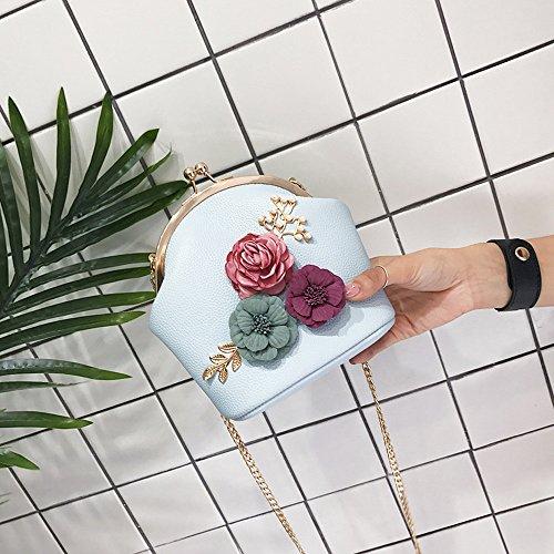 Senoras Mensajero Beige De Pequeno Flores Forman Embrague Del Para Toogoo Estereas Cadena Bolso Monedero Las Mujeres Totalizador Bolsa Hombro La Azul Muchachas xRvqawvz