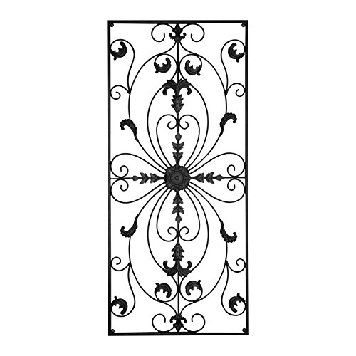 gbHome GH-6778 Metal Wall Decor, Decorative Victorian Style Hanging Art, Steel Décor, Rectangular Design, 19.7 x 44 Inches, Black (Wall Decor)