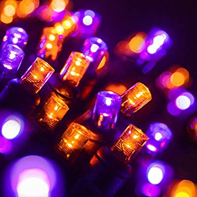 "70 5mm Purple, Orange LED Christmas Lights, 4"" Spacing, Black Wire"