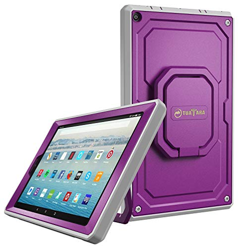 - Fintie Case for All-New Amazon Fire HD 10 Tablet (7th Gen 2017) - [Tuatara Magic Ring] [360 Rotating] Multi-Functional Grip Stand Shockproof Protective Carry Cover w/Built-in Screen Protector, Purple