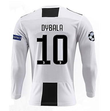 premium selection 6ee2a eff30 brave Yang Juventus 18-19 Season #10 Dybala Home Men's Long Sleeve Soccer  Jersey & Armbands White/Black