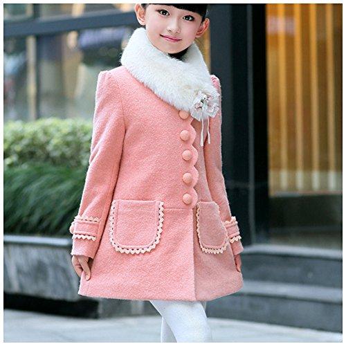 LSERVER Girl's Elegant Faux Fur Woolen Collar Fashion Warm Blended Winter Coat Lace Flower Princess Bowknot Jacket Pink by LSERVER (Image #2)
