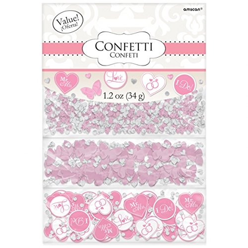 Amscan Value Pack Adorable I Do & Butterfly Wedding Party Confetti, 1.2 oz, Pink
