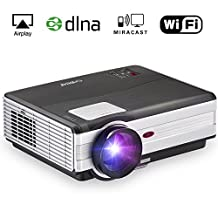 EUG Portable 1080p HD LED LCD Android Home Cinema Theater Image System Movie Gaming Projector Wuxga Digital Proyector Smart Beamer Hdmi USB VGA Av for iPhone iPad Laptop Blu ray Xbox Ps3 DVD Tv Wifi