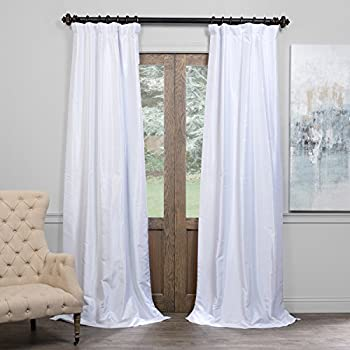 Half Price Drapes PDCH-KBS1BO-108 Blackout Vintage Textured Faux Dupioni Curtain, Ice, 50 X 108