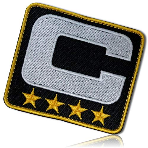 Upper Case Letter C w/Four Stars Captain Leader Coach Sports Team Football Hockey Basketball Soccer Jersey Varsity Letterman Jacket Hook & Loop Fastener Patch [ 3
