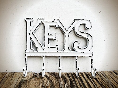 White Key Hook - Industrial Style Rustic Entryway Storage -Mudroom Organizer - Iron Multi Hanger - Housewarming (Iron Finish Entry)
