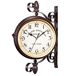 MuLuo Double Dial Daily Wall Suspension Hanging Alarm Clock Timer Bell Horologe Calculagraph Watch Retro Crafts Home Decor