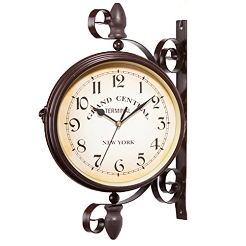 MuLuo Double Dial Daily Wall Suspension Hanging Alarm Clock Timer Bell Horologe Calculagraph Watch Retro Crafts Home (Grand Central Clock)