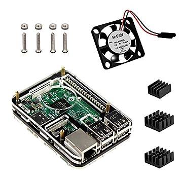 Raspberry Pi 3 Model b Kit , 5 Capas Caja , Ventilador , disipador de calor (Negro)