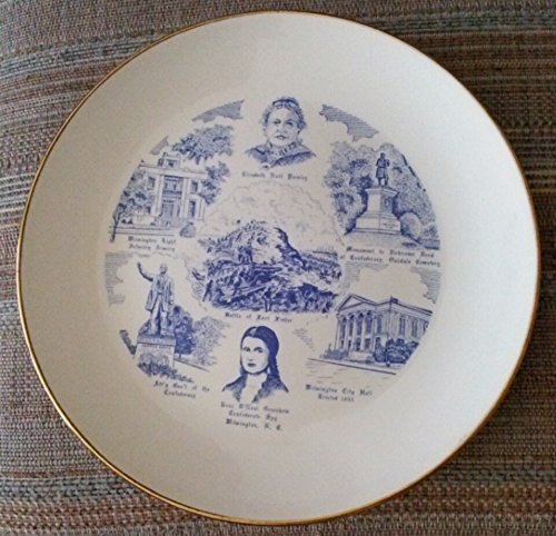 (North Carolina Blue and White - Homer Laughlin Rhythm - Souvenir Plate )