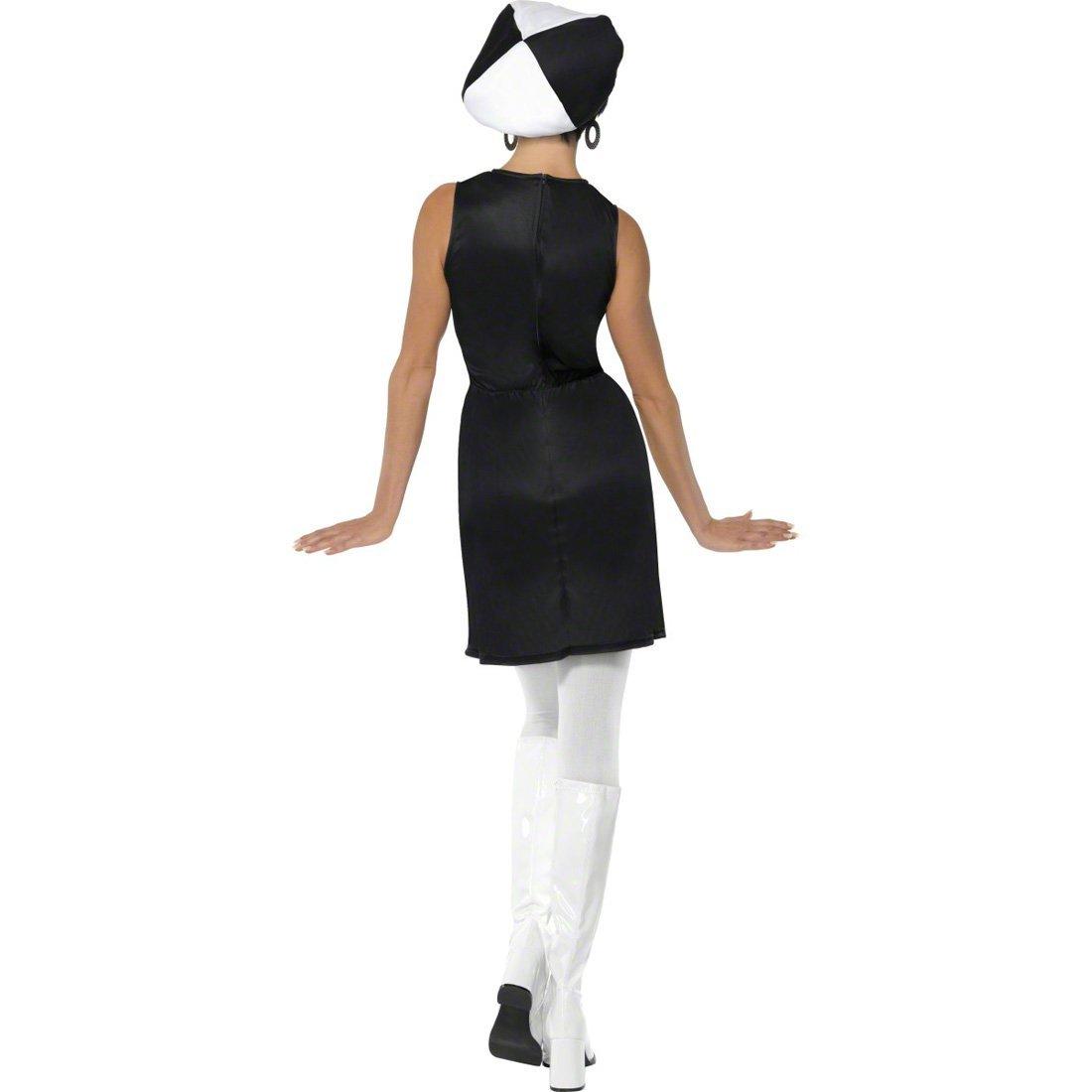 Party Girl Outfit Sechziger Jahre Kostüm Kleid Damenkostüm weiß schwarz M 40//42