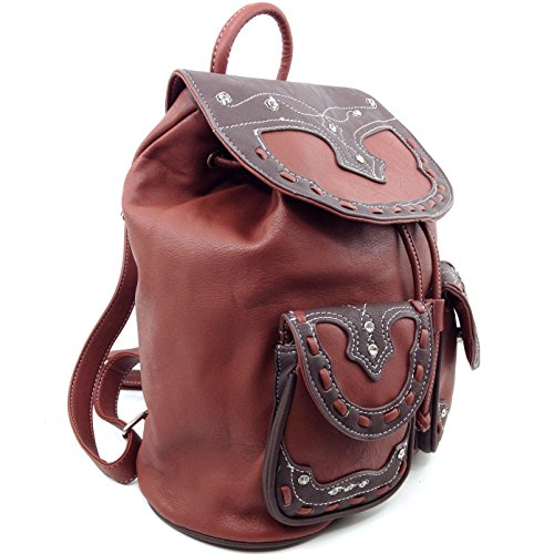 Backpack Western West Purse Top Trendy Rhinestone Conceal Leather Carry Justin Brown Handle ZzfqxnHq