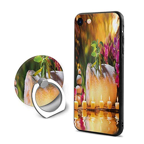 Spa iPhone 6 Plus/iPhone 6s Plus Cases,Asian Classic Spa Day Joy in The Garden with Romantic Candles and Orchids Purple White and Green,Mobile Phone Shell Ring Bracket