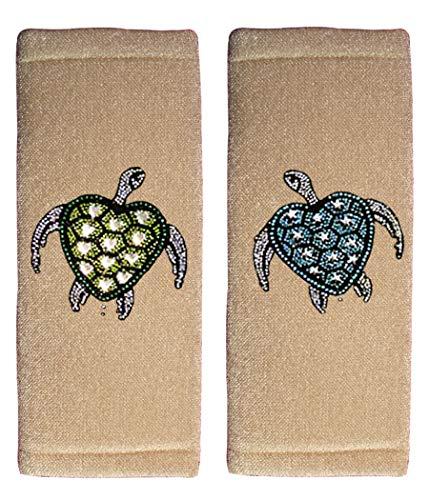 ALLBrand Car Truck Crystal Bling Rhinestone Studded Seat Belt Cover Shoulder Pad Cushion - Pair (Turtle/Beige)