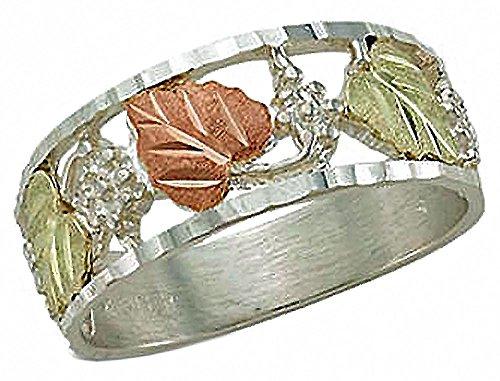 Black Hills Gold Wedding Band - Landstroms Black Hills Silver Mens Wedding Ring and Black Hills Leaves - 02322SS