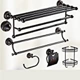 WWJ Bathroom Accessory Set / Oil Rubbed Bronze Towel Bar Antique Brass Wall Mounted 625 x 90x125mm (24.6 x 3.54 x 4.92) Brass / Ceramic / Crystal Antique
