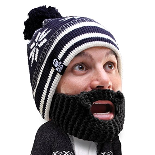 (Beard Head Stubble Bumper Beard Beanie - Funny Winter Hat and Fake Beard)