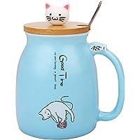 Kattmugg söt keramisk kaffekopp med härlig kattunge trälock rostfritt stålsked, nyhet morgonkopp te mjölk julmugg…