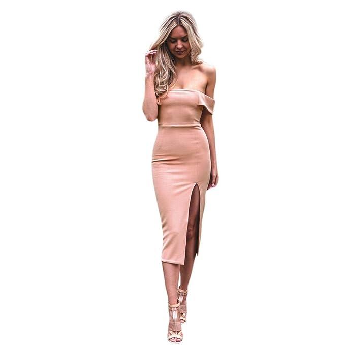 Amlaiworld Herbst Damen Geteilter Bootshals Kleid Frühling Sommer elegant  eng Kleider Reizend trägerlos Abendkleider Party Mode 7c51a8d650