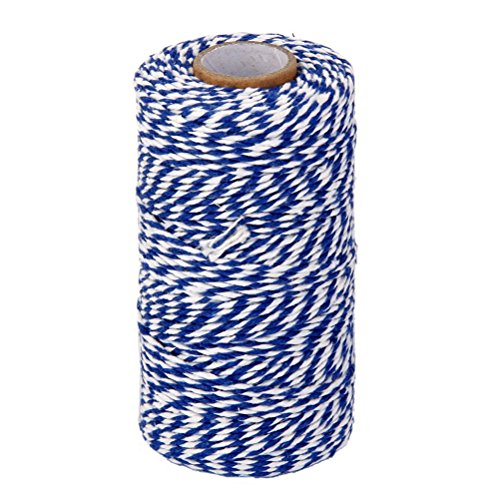 ROSENICE Natural Cotton Twine String Bakers Twine 100M (Navy Blue White)]()