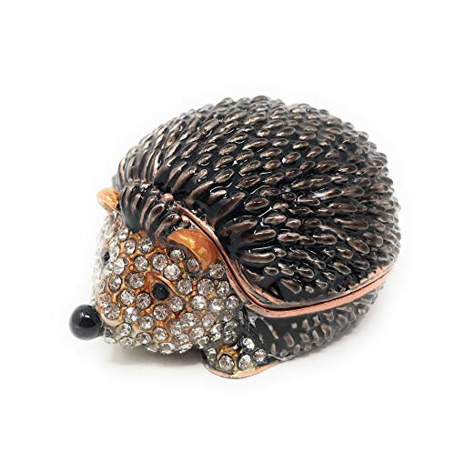 Kubla Crafts Enameled Hedgehog Mini Trinket Box, Accented with Austrian Crystals, 2 Inches Long ()