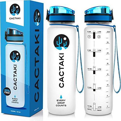 Cactaki Water Bottle with Time Marker Large BPA Free Water Bottle NonToxic 1 Liter 32 Oz for Fitness and Outdoor Enthusiasts Leakproof and Durable