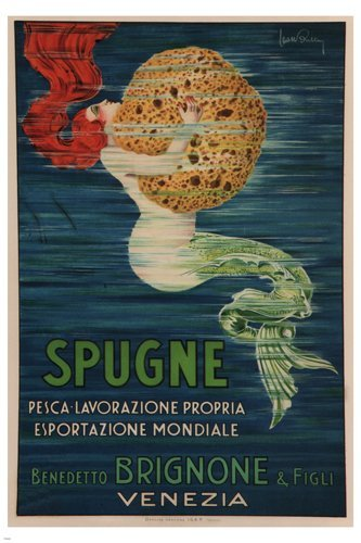 MERMAID grabbing SPONGE vintage ad poster L Buttin Italy 1920 24X36 HOT new by HSE ()