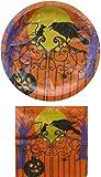 Spooky Orange Halloween Paper Plates & Napkins Set for 18