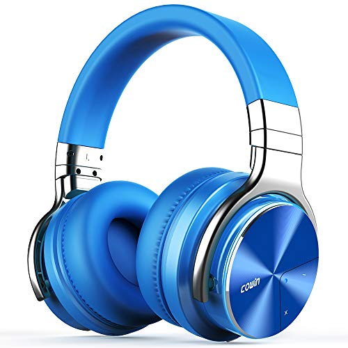 COWIN E7 PRO [Upgraded] Active Noise Cancelling Headphones Bluetooth Headphones with Mic Hi-Fi Deep Bass Wireless Headphones Over Ear 30H Playtime Travel Work TV Computer Cellphone - Blue