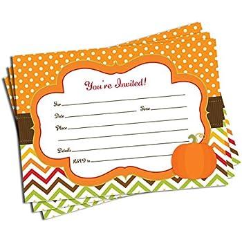 Amazon Com 50 Pumpkin Invitations And Envelopes Large Size 5x7