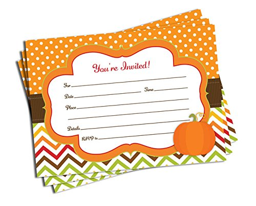 50 Pumpkin Invitations and Envelopes (Large Size 5x7) - Birthday Party - Wedding - Bridal Shower - Baby Shower - Anniversary - Any Occasion