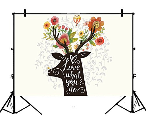 7x5ft Spring Lush Floral Flower Christmas Gift Reindeer Hot Balloon Polyester Photography Backdrop Photography Props Studio Photo Booth Props]()