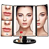 BESTOPE 24 Led Makeup Mirror Larger Vanity Mirror with 3x/2x Magnification,Trifold Lighted Mirror,Touch Screen, 180° Adjustable Rotation,Battery and USB Powered,Countertop Cosmetic Mirror (Black)