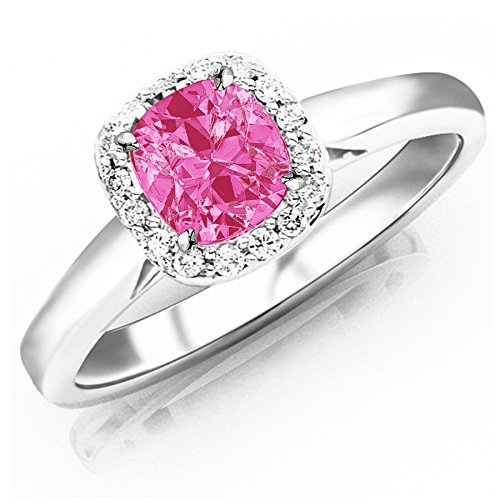 Tw Pink Cushion Cut Ring - 0.6 Carat t.w Platinum Classic Prong Set Halo Style Diamond Engagement Ring w/a 0.5 Carat Cushion Cut Pink Sapphire Heirloom Quality