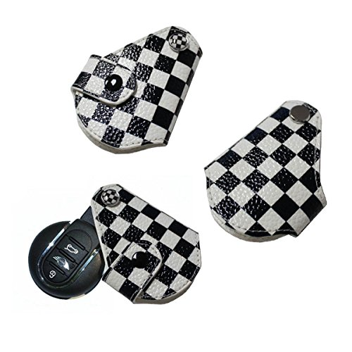 White Checkers Protector Case - iJDMTOY (1) Black White Checkered Pattern Real Leather Key Fob Cover Holder For 2008-up MINI Cooper R55 R56 R57 R58 R59 R60 R61 F55 F56