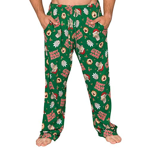 Underboss Rick and Morty Happy Human Holidays Green Lounge Pants (Adult Large)