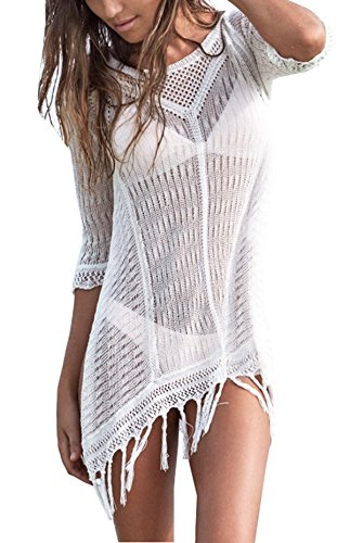 Beach Cover Sexy Ups - Wander Agio Beach Tops Sexy Perspective Cover Dresses Bikini Cover-ups Net Tassels White