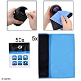 Lens and Screen Cleaning Kit - 5 Double Layer Cloths, 50 Individually Wrapped Wet Tissues - For Eyeglasses, Sunglasses, Camera Lenses, Phone / Tablet Screens, etc. - Advanced Formula