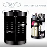 SONGXER 360-Degree Rotating Makeup Organizer, Adjustable Multi-Function Cosmetic Storage Unit, Compact Size with Large Capacity, Fits Different Types of Cosmetics and Accessories (Black)
