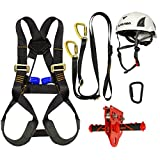 Fusion Climb Kids Backyard Zip Line Kit Harness Lanyard Trolley Carabiner Helmet Bundle FK-K-HLTCH-05