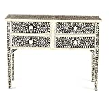 Bone Inlay Traditional Black Console Table Inlay Furniture (Antique Rustic)