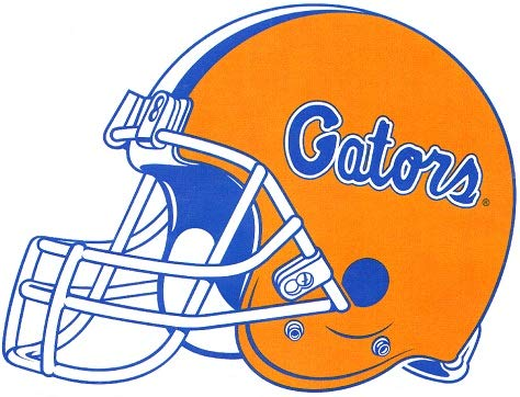 6 Inch Gators Football Helmet Decal UF University of Florida Logo FL Removable Wall Sticker Art NCAA Home Room Decor 6 by 4 1/2 Inches