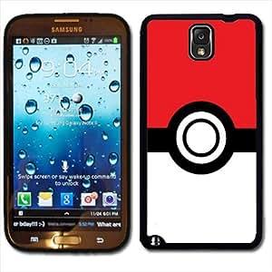 Samsung Galaxy Note 3 Black Rubber Silicone Case - Pokemon Pokeball Poke Pikachu Emblem Logo
