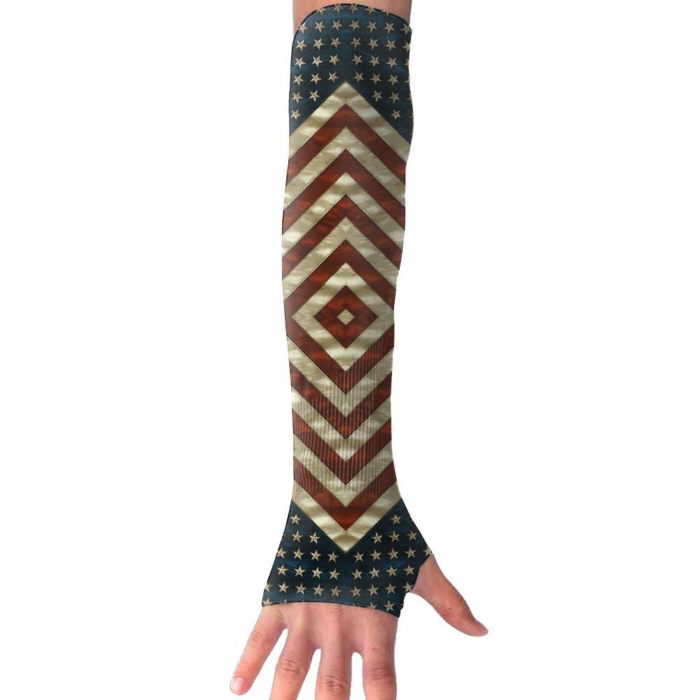 Suining Unisex American Flag Style Stars Stripe Sense Ice Outdoor Sports Arm Warmer Long Sleeves Glove