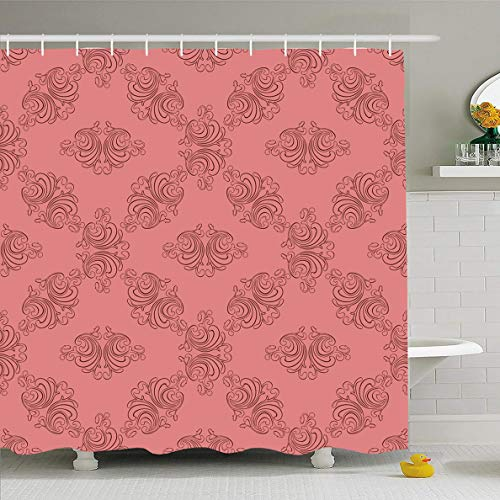 Ahawoso Shower Curtain 72x78 Inches Retro Rose Floral Abstract Dusty Ancient Vintage Artistic Creative Curlers Damask Design Whirlpool Waterproof Polyester Fabric Bathroom Curtains Set with ()