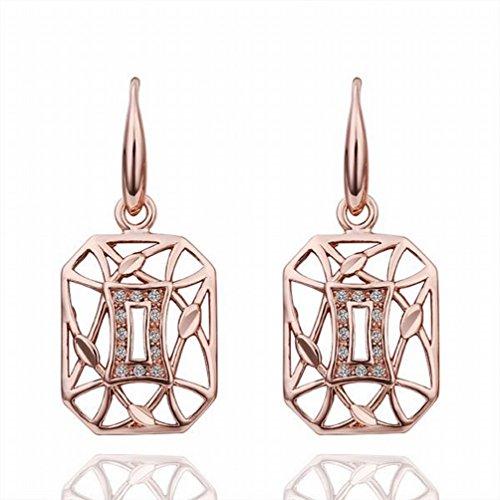 MOMO Boucles D'oreilles Géométriques en Or Rose Rose Et Respectueuses de L'environnement Ladies / Stainless Steel / Anti-allergy / Small And Exquisite / Zirconia Made